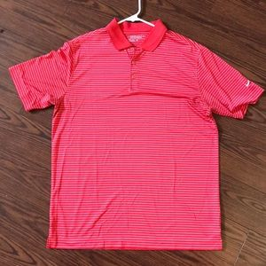 Men's red and white Nike golf polo